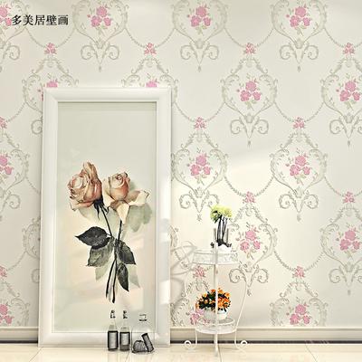 加厚3D欧式田园无纺布墙纸卧室壁纸温馨婚房客厅电视背景墙壁纸
