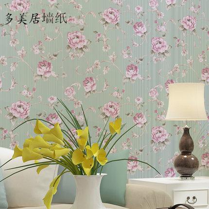 淡绿色田园风格卧室墙纸 100%真纱线墙纸