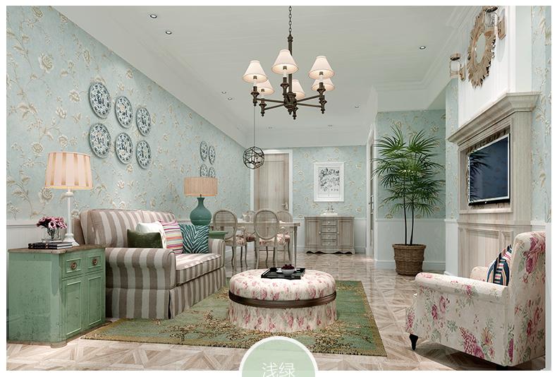 美式田园花卉壁纸 客厅卧室满铺墙纸